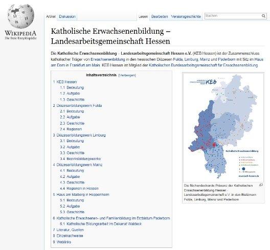 Katholische Erwachsenenbildung in Hessen auf Wikipedia